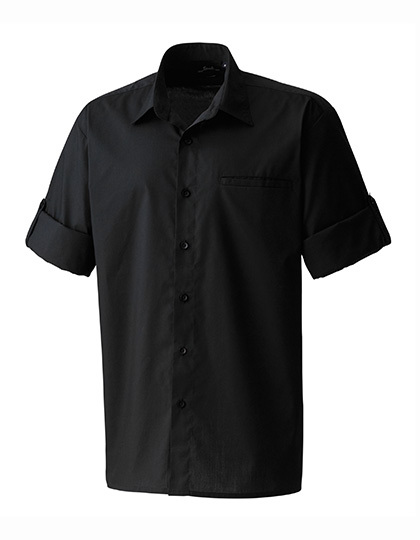 LSHOP Mens «Roll-Sleeve« Poplin-Hemd Black